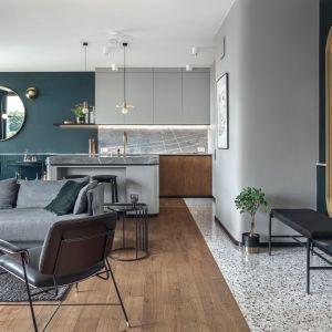 Salon z kuchnią w modnych kolorach. W otwartym wnętrzu najbardziej zwracają uwagę ściany w pięknym szmaragdowym kolorze. Projekt: Marta i Michał Raca, Raca Architekci. Fot. Tom Kurek