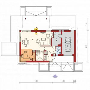1. Wiatrołap 3.07 m² 2. Hol + schody 14.79 m² 3. Kuchnia 9.47 m² 4. Spiżarnia 1.77 m² 5. Pokój dzienny + jadalnia 3 6.11 m²  6. Łazienka 2.62 m² 7. Kotłownia 8.02 m² 8. Garaż 19.66 m²
