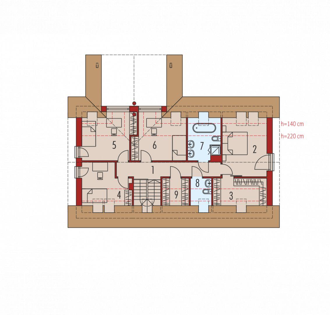 1. Korytarz 9.30 m² 2. Sypialnia 12.64 m² 3. Garderoba 5.37 m² 4. Sypialnia 8.17 m² 5. Sypialnia 10.93 m² 6. Sypialnia 10.95 m² 7. Łazienka 5.83 m² 8. Łazienka 2.08 m² 9. Garderoba 2.66 m²