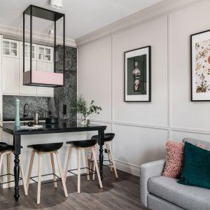 Mała kuchnia połączona z salonem. Projekt i zdjęcia:  JT Neptun Park.