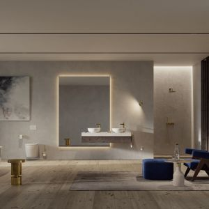 Luksusowe wnętrze sprzyjające odprężeniu. Kolekcja OMNIRES CONTOUR intryguje ekstrawagancką formą o surowym, a zarazem subtelnym charakterze. Fot. Omnires
