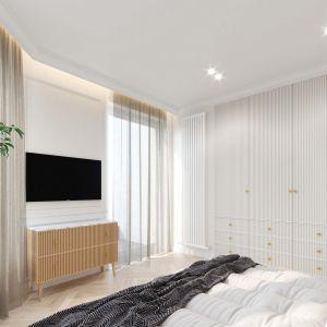Na podłogach w sypialni postawiono na klasyczną, elegancką jodełkę oraz modny dywan. Projekt i wizualizacje: Tomasz Kaim, Agnieszka Drużkowska, kaim.work