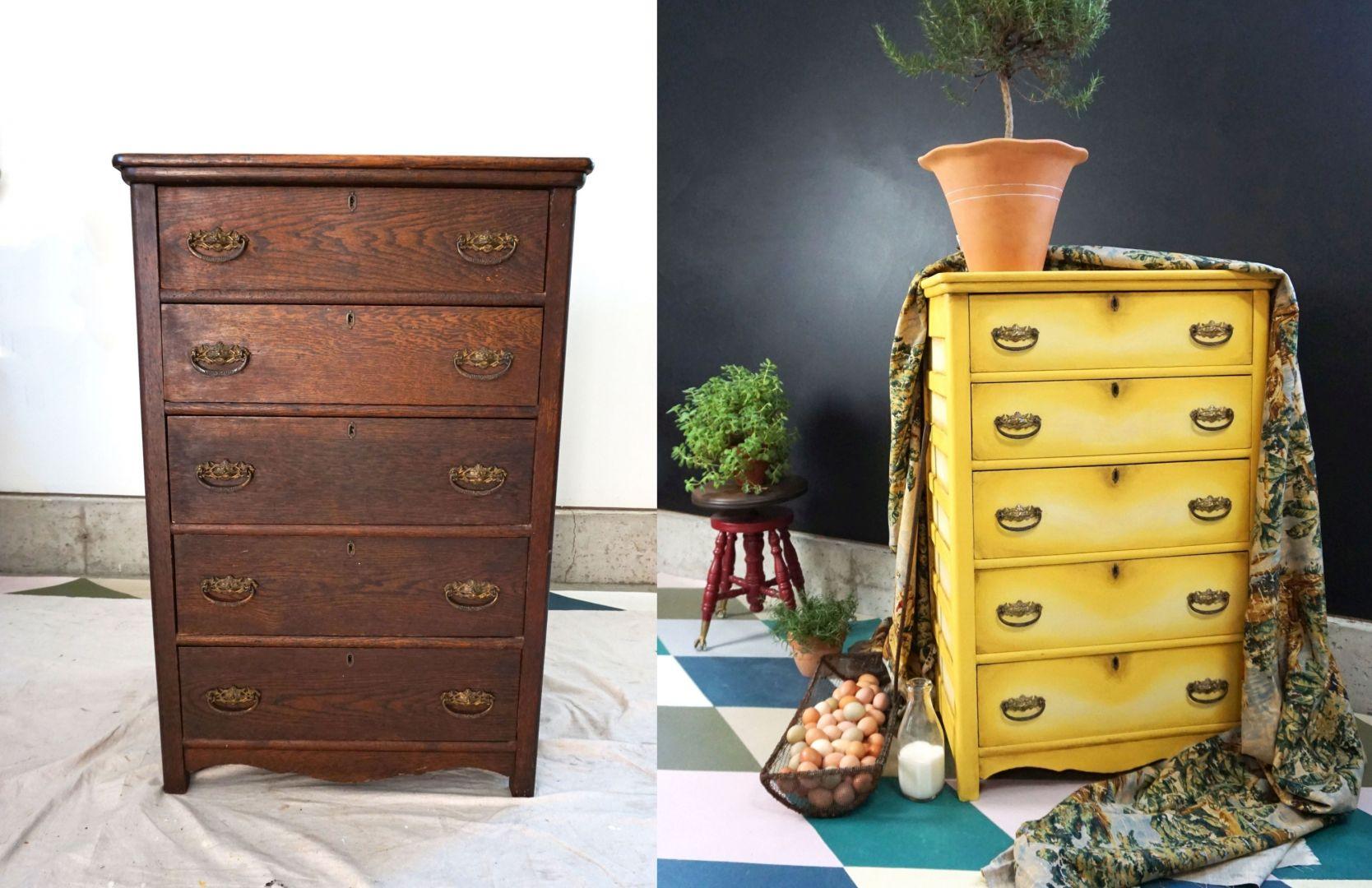 Komoda przed i po renowacji pomalowana farbami Chalk Paint Annie Sloan