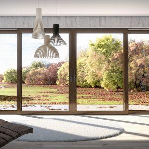 System drzwi tarasowych z niskim stałym skrzydłem, ekstremalnie wąskimi w widoku profilami i bardzo dużymi przeszkleniami to więcej światła w salonie. Fot. mat. prasowe Awilux