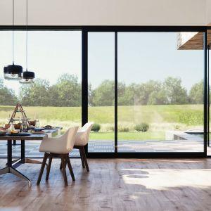 Główną zaletą drzwi przesuwnych jest wysoka estetyka oraz oszczędność miejsca. Fot. mat. prasowe Awilux