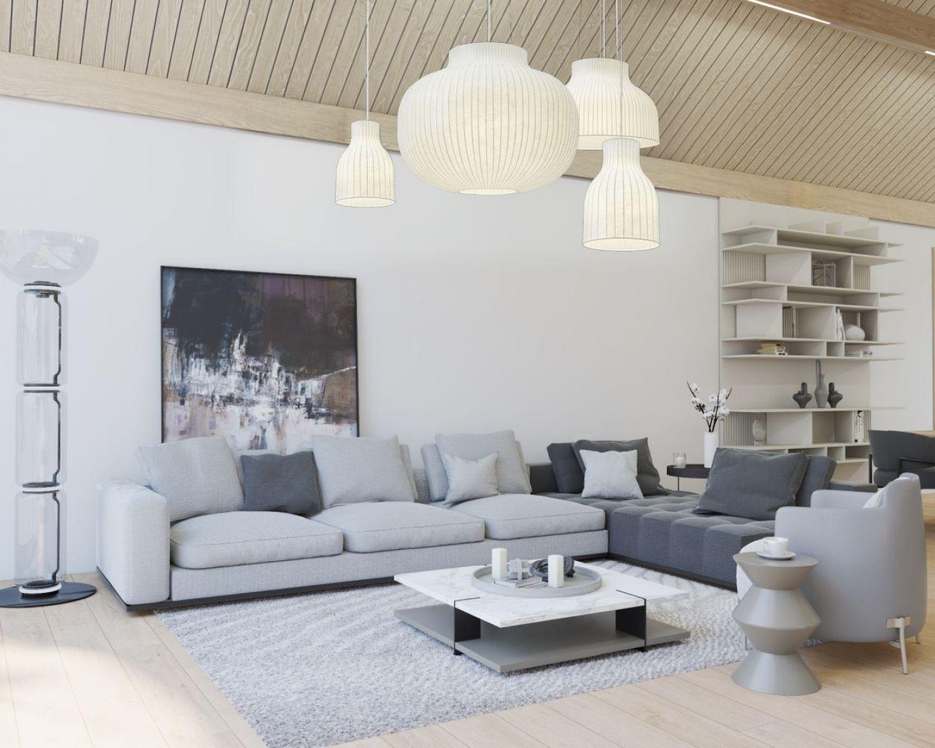 Salon we wnętrzu domu w typie nowoczesnej stodoły. Projekt i wizualizacje: mat. pras. MIKOŁAJSKAstudio