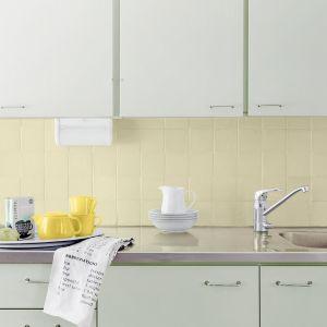 Do przeprowadzenia totalnej zmiany posłużą emalia Tikkurila Everal Aqua Matt 10 w kolorze F370 do pomalowania szafek oraz podkład Tikkurila Otex Akva  i emalia Tikkurila Everal Aqua Semi Matt 40 w kolorze F395 jako produkt nawierzchniowy do pomalowania glazury.