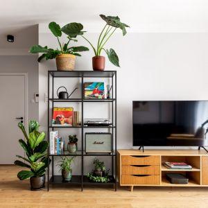 Salon z regałem w loftowym stylu. Projekt Maria Nielubszyc, pracownia PURA design. Zdjęcia Jakub Nanowski