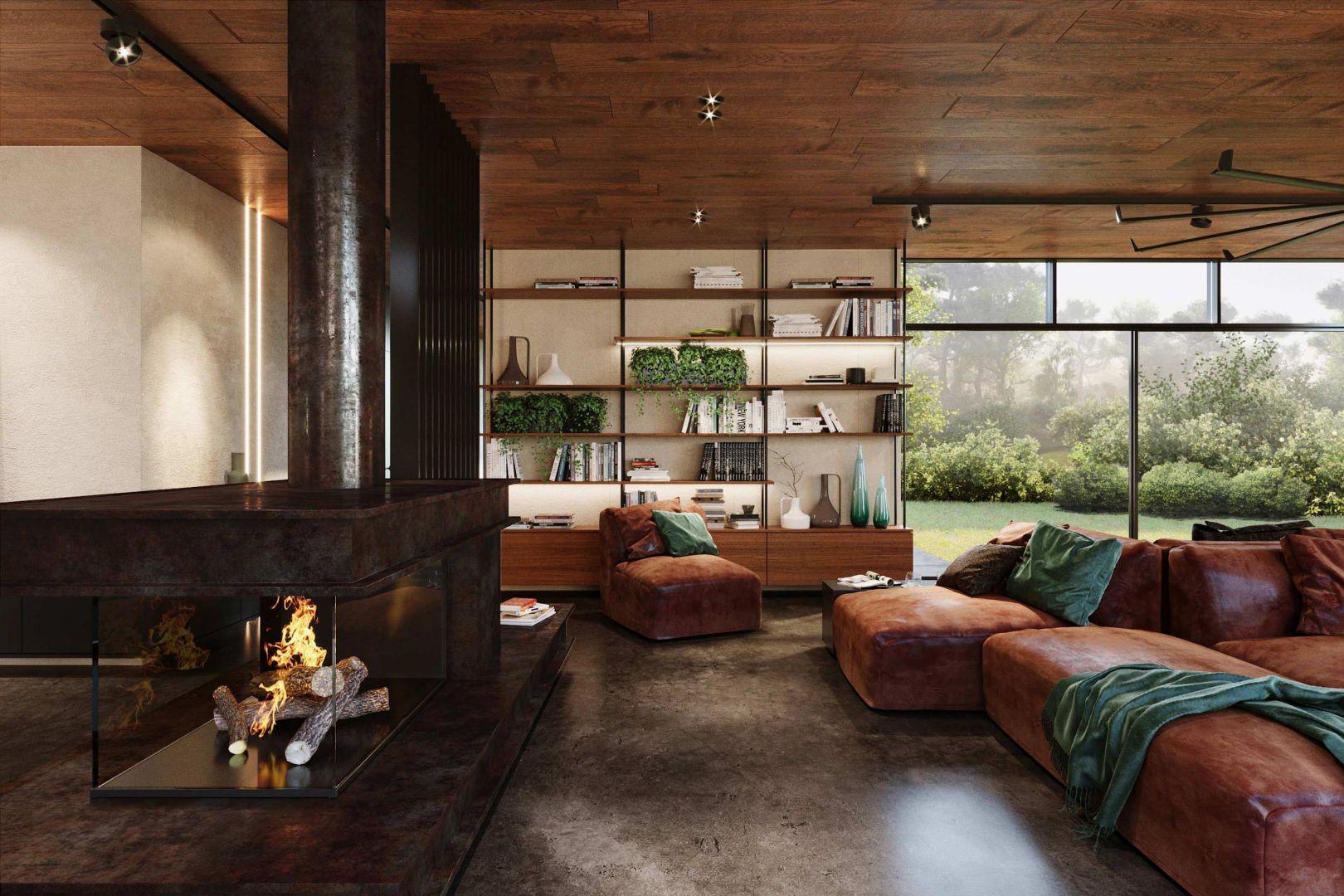 Pomysł na industrialny salon w mocnej kolorystyce. Projekt i zdjęcia: KANDO ARCHITECTS