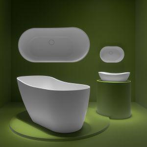 W kolekcji Bolstad marki Fjordd znalazła się wanna wolnostojąca i umywalka nablatowe do małej łazienki. Fot. mat. prasowe Fjordd