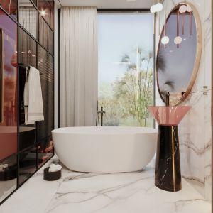 Kobieca łazienka w modnych kolorach Projekt modeko.studio
