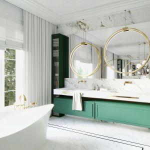 Kobieca łazienka w modnych kolorach. Projekt Tissu Architecture