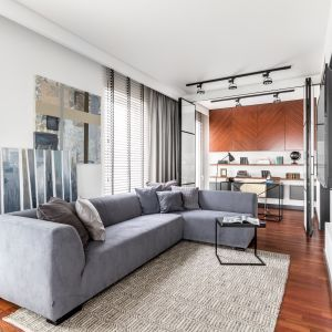 Sofa w loftowym stylu i pasujący do niej metalowy stolik. Projekt Decoroom. Fot. Pion Poziom