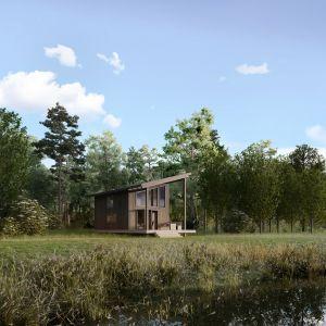 Nowoczesny drewniany domek letniskowy w technologii szkieletowej. Powierzchnia: 42,1 m2. Projekt: architekt Sebastian Marach, architekt Jędrzej Pawlaczyk (współpraca autorska). Wizualizacje: GID Studio