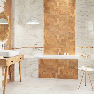 Credo oddaje inspirację industrialnymi wnętrzami, która przeplata się z zamiłowaniem do naturalnych surowców, akcentów w stylu boho i blasku złota. Fot. Ceramika Domino/Tubądzin