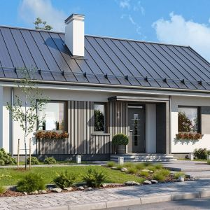 Dom Kasia zaprojektowano jako parterowy, założony na planie prostokąta o wymiarach 11x8 m, przykryty dwuspadowym dachem. Projekt: arch. Michał Gąsiorowski. Fot. MG Projekt