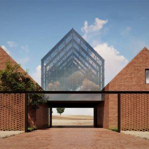 Poszczególne stodoły dzielą przestrzeń domu na odmienne funkcje. Projekt: pracownia Core