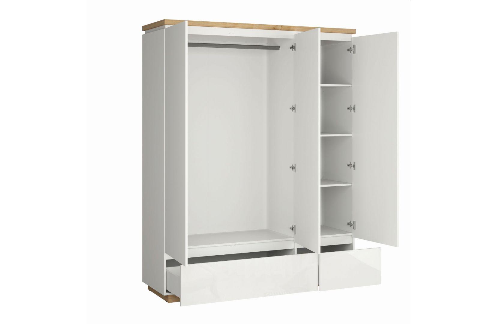 W szafie znajdują się cztery półki, drążek na wieszaki oraz praktyczne szuflady o dwóch różnych pojemnościach. Fot. Black Red White