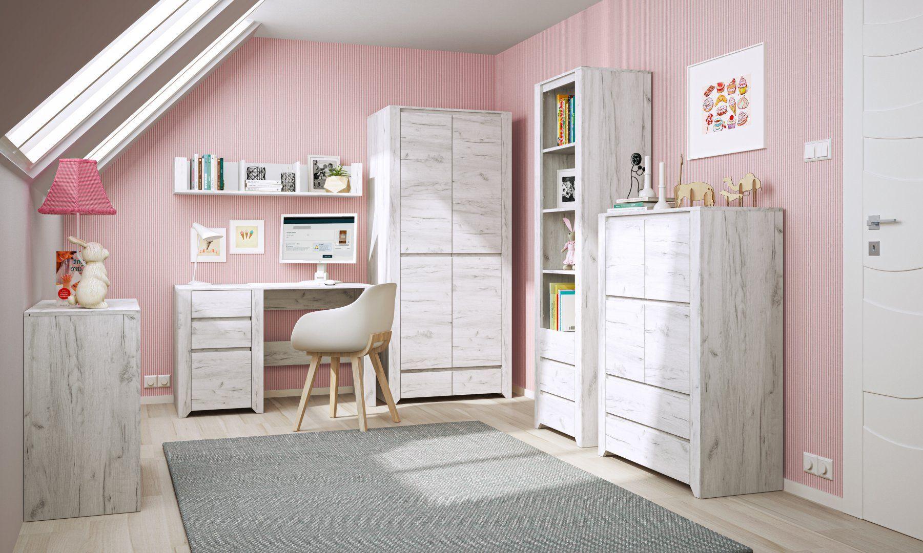 Angel to kolekcja,  która dzięki stylowemu dekorowi Dębu White Craft inspirowanego bielonym drewnem idealnie sprawdzi się w każdego rodzaju aranżacji niezależnie od wieku dziecka. Producent: Meble Wójcik. Cena: 569 zł - komoda, 501 zł - biurko