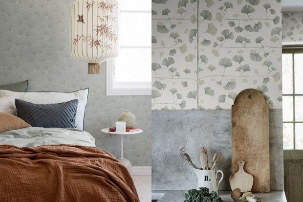 Ten wzór idealnie pasuje do wnętrz w stylu japandi! Jak wam się podoba ściana w salonie lub w sypialni z motywem gingko, czyli miłorzębu? Zobaczcie zdjęcia!