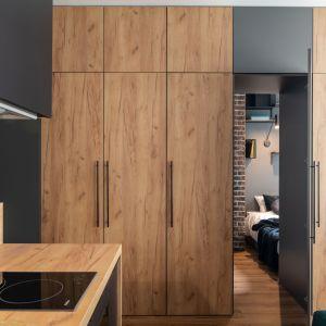Wejście do sypialni przez drzwi od pojemnej szafy. Projekt i zdjęcia: KODO Projekty i Realizacje Wnętrz
