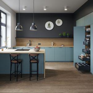 W aranżacjach kuchennych czerń najczęściej łączona jest z naturalnym drewnem lub skałami, a także materiałami nimi inspirowanymi. Fot. Rejs