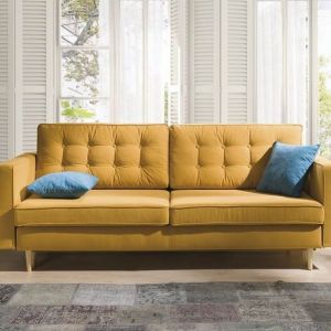 Sofa Tivoli Puszman z funkcją spania typu DL i pojemnikiem na pościel. Powierzchnia spania: 200 x 140 cm. Cena: od 2496 zł. Puszman
