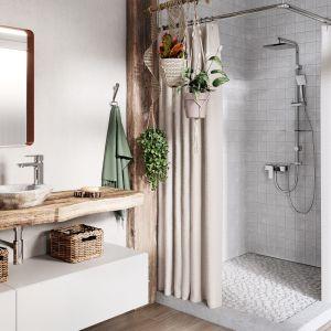 Jasna łazienka z dodatkiem naturalnych kolorów i materiałów. Na zdjęciu: bateria umywalkowa Alba VerdeLine, zestaw natryskowy Amigo VerdeLine. Fot. Ferro