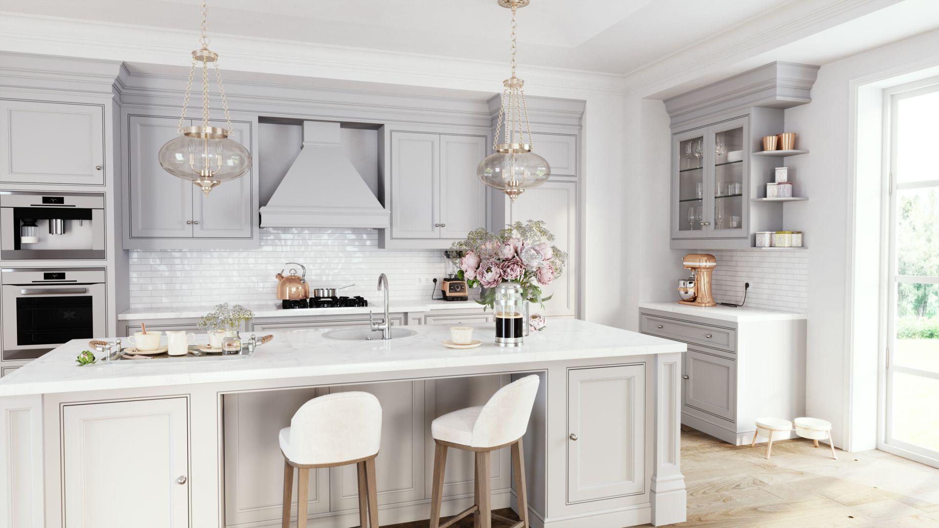 Biała kuchnia w klasycznym stylu. Bateria zlewozmywakowa stojąca Tiga VerdeLine. Fot. Ferro