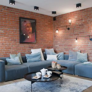 Ścianę za kanapą w salonie zdobi czerwona cegła pochodząca z rozbiórki. Projekt: Ewelina Mikulska-Ignaczak, Mikulska Studio. Fot. Jakub Ignaczak, K1M1