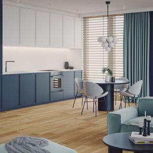 Drewniana podłoga świetnie prezentuje się w kuchni. Projekt: WZ STUDIO