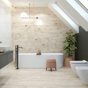 Pomysł na nowoczesną łazienkę na poddaszu. Na zdjęciu kolekcja Classic Oak Grey Opoczno