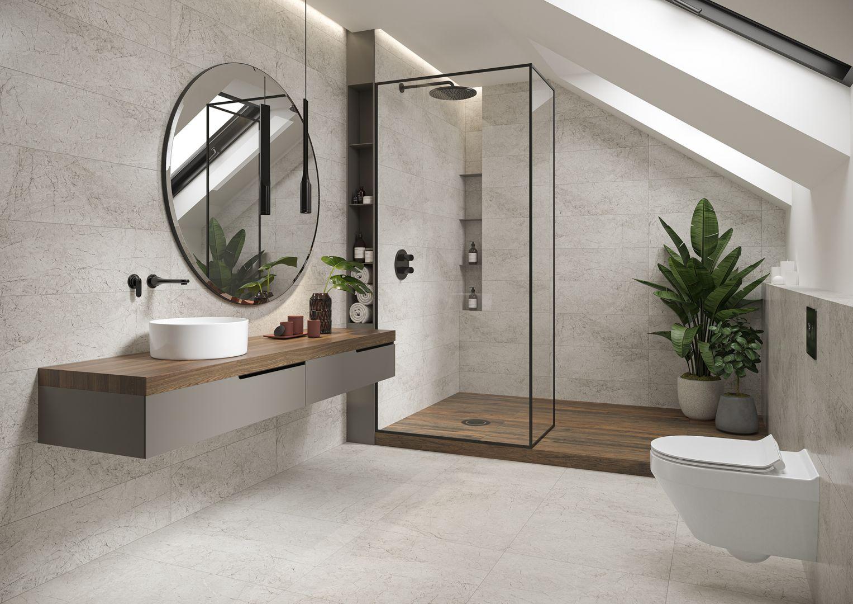 Minimalistyczna łazienka na poddaszu. Na zdjęciu kolekcja Meer Opoczno