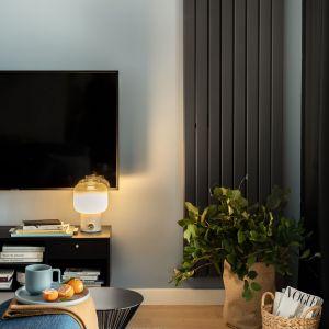 Czarny grzejnik to świetna dekoracja salonu. Projekt: Framuga Studio. Zdjęcia: Aleksandra Dermont
