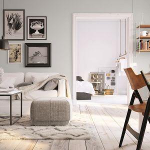 Delikatny odcień ścian 1959 głęboko matowej farby Tikkurila Optiva Matt 5 harmonijnie skomponuje się z bieloną drewnianą podłogą, podkreślając jasny charakter stylizacji.