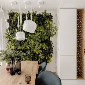 Białe mieszkanie z piękną zieloną ścianą. Tak urządzono 55 m2 w Warszawie. Projekt: Kamila Szamot, pracownia LIM. Zdjęcia: Aleksandra Dermot