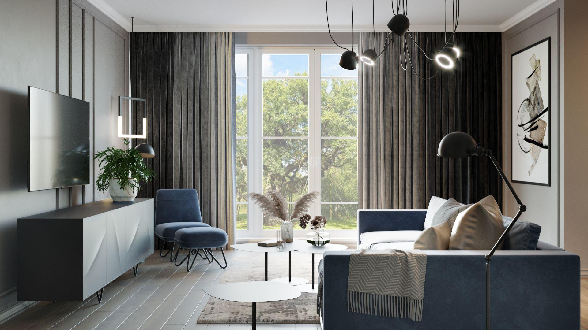 Zasłony w salonie - pomysł na dekorację okna. Projekt i wizualizacje Agnieszka Rozmysłowicz, Viann Interior Design