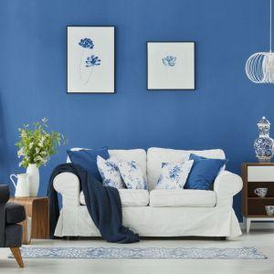Niebieska ściana zestawiona z białymi meblami da efekt świeżego wnętrza w zawsze modnym marynarskim stylu. Fot. Jedynka