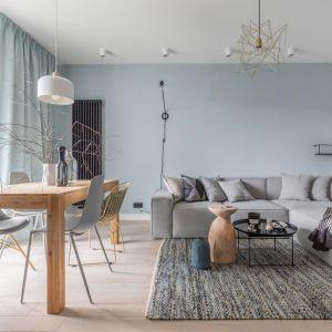 Salon w chłodnychn niebieskich kolorach, ocieplony jasnym drewnem, Projekt Alina Fabirowska. Fot. Pion Poziom
