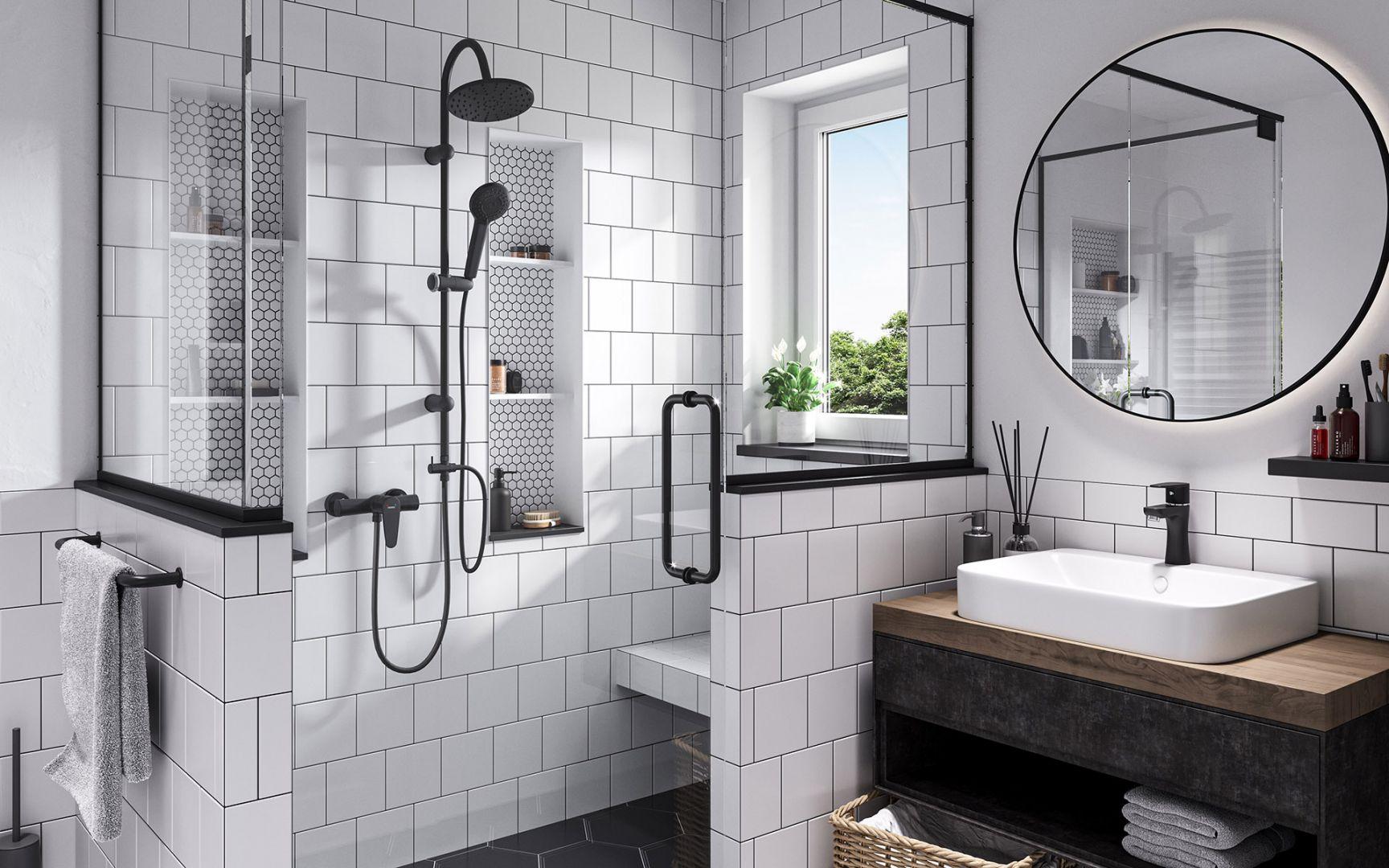 Mała łazienka. Na zdjęciu Algeo Black bateria umywalkowa stojąca, fot. mat. prasowe Ferro