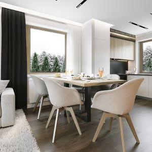 Salon połączony jest z jadalnią oraz z kuchnią. Projekt: arch. Michał Gąsiorowski. Fot. MG Projekt