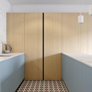 Wysoka zabudowa w kuchni w niedużym mieszkaniu to świetny pomysł. Projekt i wizualizacje: Mateusz Limanówka, Spacja Studio