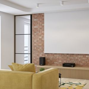 Na ścianie z cegłą znalazła się dekoracyjna szafka RTV oraz wysuwany ekran do projektora zamontowanego na suficie. Projekt i wizualizacje: Mateusz Limanówka, Spacja Studio
