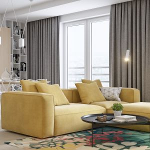 """Centralnym elementem w salonie jest żółta, miękka sofa, która wraz z dywanem tworzy kolorową, wypoczynkową """"wyspę"""". Projekt i wizualizacje: Mateusz Limanówka, Spacja Studio"""