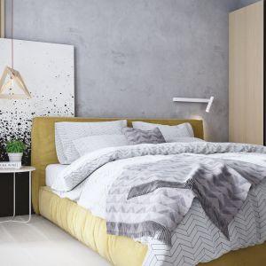 W sypialni najważniejsze miejsce zajmuje duże, tapicerowane łóżko. Projekt i wizualizacje: Mateusz Limanówka, Spacja Studio