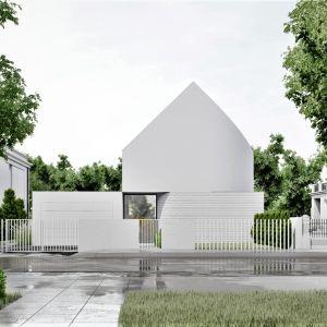 Elewacja domu została pokryta białym tynkiem i cegłą, która dominuje w sąsiedniej zabudowie. Projekt: pracownia Core