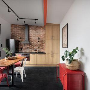 Ściana nad blatem w kuchni wykończona jest cegłą. Projekt: Ola Dąbrówka, GOOD VIBES Interiors. Fot. Mikołaj Dabrowski
