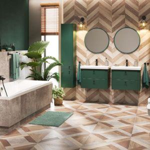 Zestaw mebli łazienkowych Azzura w kolorze butelkowej zieleni. Fot. Castorama