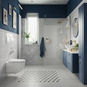 Zestaw mebli łazienkowych Azzura w kolorze granatowym. Fot. Castorama