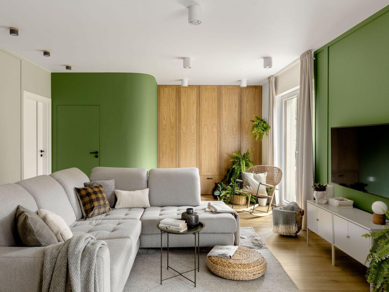 98-mieszkanie na warszawskim Bemowie. Piękne wnętrze z zielonymi akcentami. Projekt wnętrza: Framuga Studio. Zdjęcia: Aleksandra Dermont